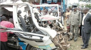Members of the public and security officers at an accident scene. Most accidents are as a result of avoidable human error.