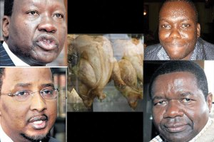 Clockwise from top left: Energy Cabinet Secretary Davis Chirchir, chicken at a fast-food kiosk, Trevy James Oyombra, James Oswago and IEBC chairman Issack Hassan. Pressure is mounting for the government to act after the directors of a British company were Thursday jailed for bribing Kenyan officials. PHOTOS | NATION MEDIA GROUP