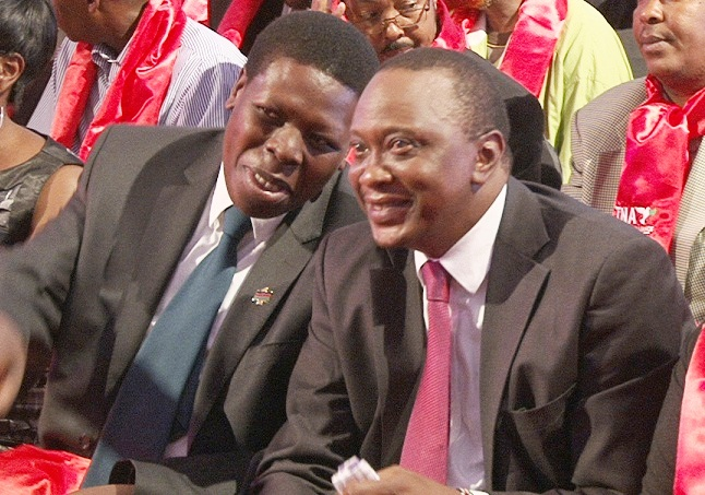 Water and Irrigation Cabinet Secretary Eugene Wamalwa with President Uhuru Kenyatta in a past function