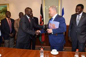 H.E Deputy President William Ruto and CS Water and irrigation Hon Eugene L. Wamalwa paid a courtesy call to Israel Prime minister Hon. Benjamin Netanyahu and held bilateral talks on Security issues esp Terrorism,Commencement of direct flights to Israel,Water Management issues..Irrigation and international relations.