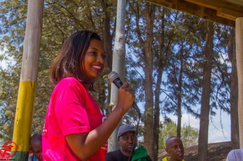 Karen Nyamu in a youth mentoring function in Dagorreti North Constituency